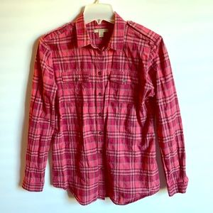 BURBERRY BRIT Pink/Rust/Red Plaid BLOUSE SHIRT M